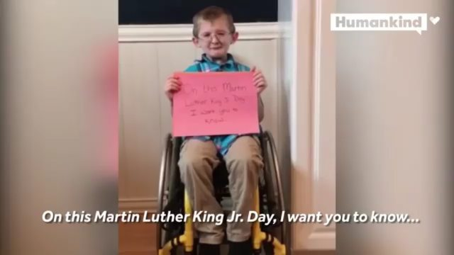 "··· "" This remarkable boy has an important message for us on Martin Luther Kin…"