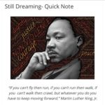 "Martin Luther King, Jr. Day ""Quick Note"" post, including a poem by Claudia Ranki..."
