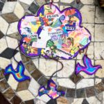 For  we made   mobiles at the  Kids colored and made collages with pictures and …