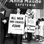 Charlton Heston picketing a restaurant in the 1960's protesting their discri...