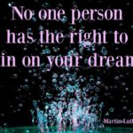 no one person has the right to rain on your dreams quotation MLK