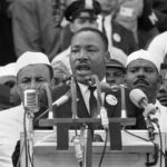 On August 28, 1963, Dr. Martin Luther King Jr., addresses marchers during his &a...